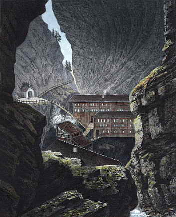Tamina Schlucht, das älteste Badhaus von Pfäfers; Tamina gorge with the oldest bathhouse